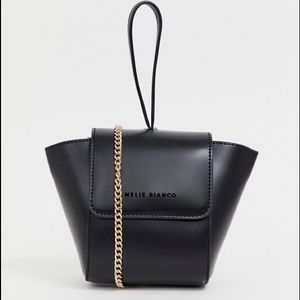 Melie Bianco Black Chained Strap Cross Body Bag